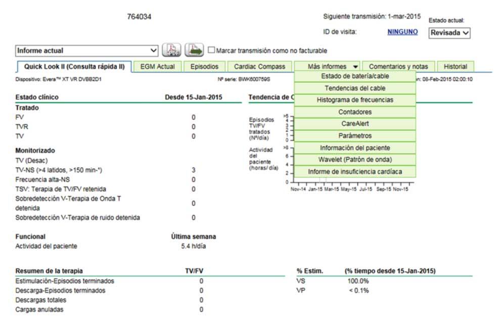 Figura 11: La visualización de los datos es mediante distintas pestañas que presentan la información de forma idéntica a la mostrada en el programador de la consulta.
