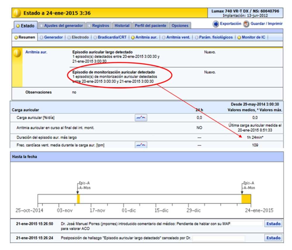 """Figura 9: El """"comentario del médico"""" con formato de texto libre permite anotar comentarios descriptivos de los hallazgos"""