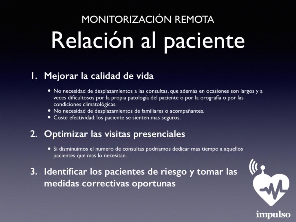 Monitorización remota. Relación al paciente
