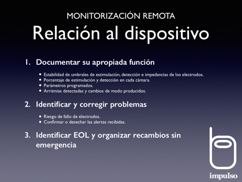 Monitorización remota. Relación al dispositivo