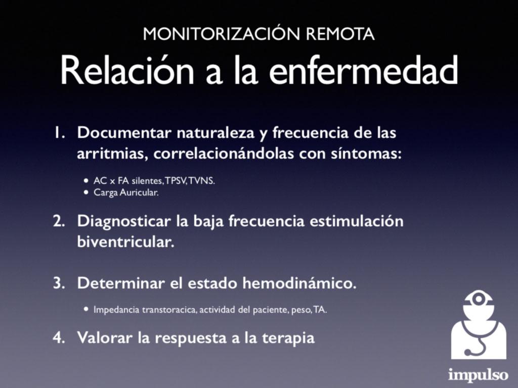 Monitorización remota. Relación a la enfermedad